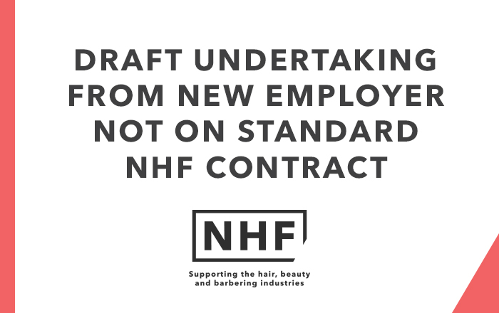 Draft Undertaking from New Employer Not on Standard NHF Contract